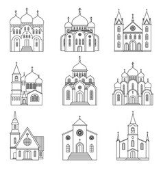 Church linear icons on white background vector