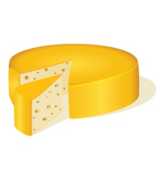 circle cut off a piece of cheese vector image
