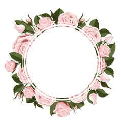 Circle greeting card on pink rose flowers vector