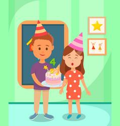 Classmate boy holding cake for birthday girl vector
