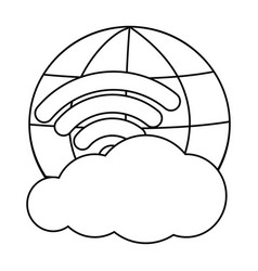Cloud computing technology in black and white vector