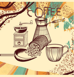 coffee retro poster with hand drawn coffee mill vector image