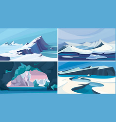 Collection arctic landscapes vector