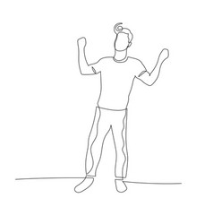 continuous one line dancing man with retro haircut vector image