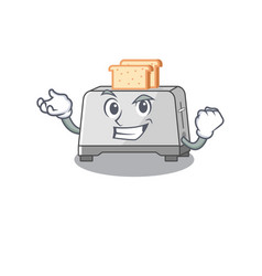 Cool confident successful bread toaster cartoon vector