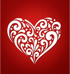 Decorative white heart on a red background vector