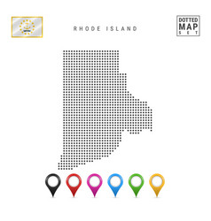 Dots pattern map rhode island stylized vector