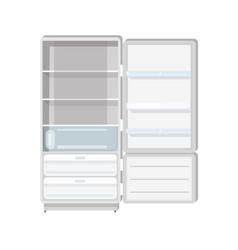 empty refrigerator with opened door shelves and vector image