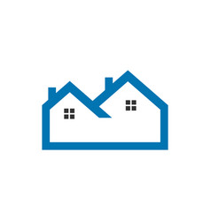 flat blue outline real estate logo vector image