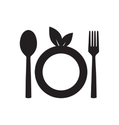 Flat icon in black and white eco cutlery vector