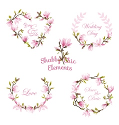 Flower magnolia banners and tags floral wreath set vector