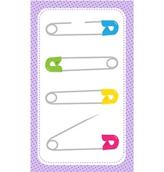 four safety pins vector image