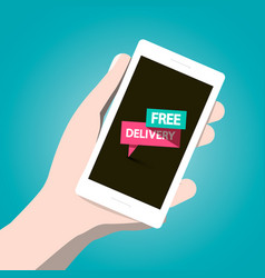 free delivery icon on mobile phone screen vector image