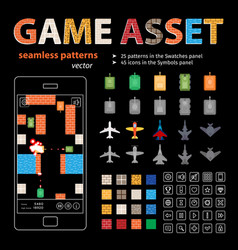 Game asset seamless patterns and sprites vector