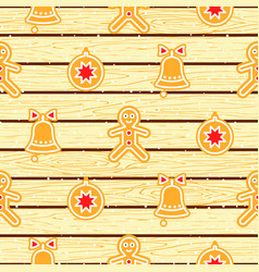 gingerbread cookies on wood planks seamless vector image
