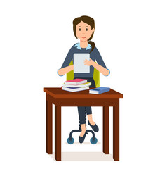 girl is looking information in electronic library vector image