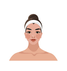Girl takes care her face and use skin vector