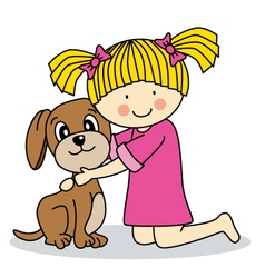 Girl with her dog vector