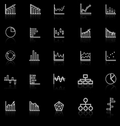 Graph line icons with reflect on black background vector
