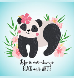 greeting card with cute panda in hand drawn style vector image