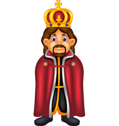 handsome king cartoon standing with smile vector image