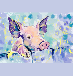 Happiness pink pig gouache vector