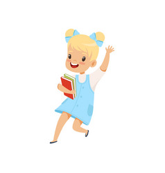 Happy little girl jumping with books cute kid vector