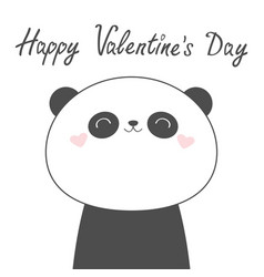 happy valentines day panda bear face head line vector image