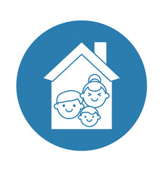 house with family silhouette block style icon vector image