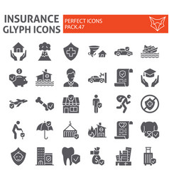 insurance glyph icon set healthcare symbols vector image