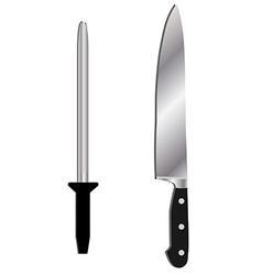 Knife and sharpener vector image