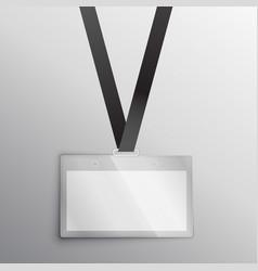 Lanyard with badge access card design mockup vector