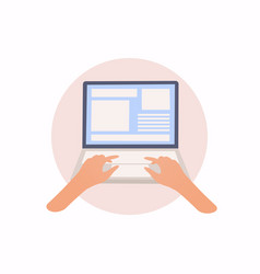 laptop and hands on keyboard flat vector image