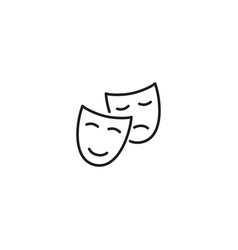 line theatre masks icon on white background vector image