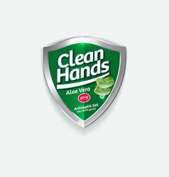 Logo clean hands aloe green shield sanitizer vector