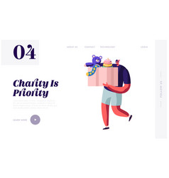 Man carry box with kids toys for donating website vector