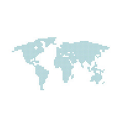 Map world dot dotted world map isolated on vector