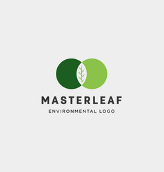 Master leaf circle abstract simple logo template vector