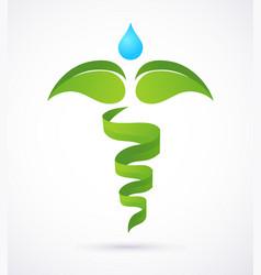 Medical caduceus - alternative medicine green vector