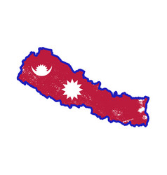 nepal country silhouette with flag on background vector image