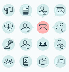 network icons set with chatting approv share and vector image