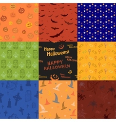 Nine Halloween texture pattern collection set vector image