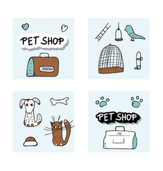 Pet shop concept doodle style design vector