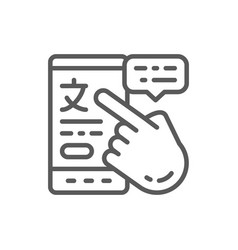 phone with online translation line icon vector image