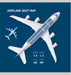 realistic 3d detailed airplane and seat map vector image