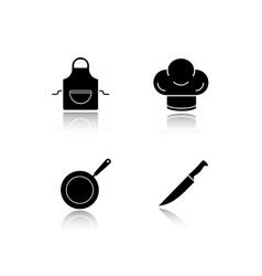Restaurant kitchen cooking equipment drop shadow vector image