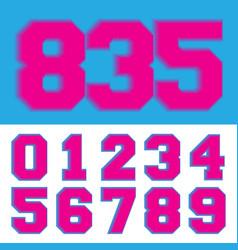 retro number 0 1 2 3 4 5 6 7 8 9 neon vintage vector image
