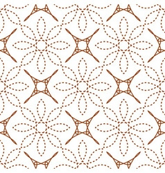 Seamless of four angle stars and dashed line flowe vector