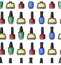 seamless pattern with colorful nail polishes vector image