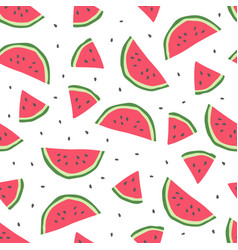 seamless pattern with cute watermelon vector image